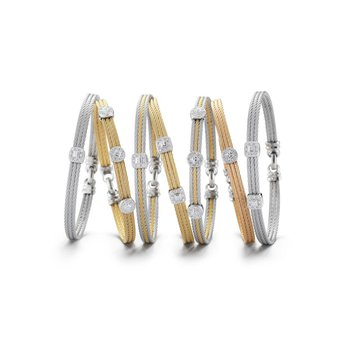 Grey & Yellow Cable Classic Stackable Bracelet with Single Square Station set in 18kt White Gold