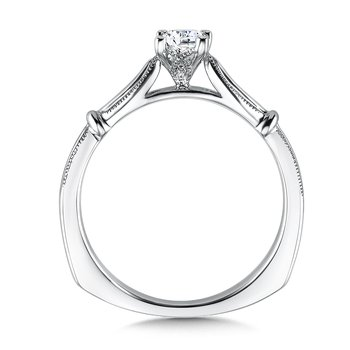 Solitaire mounting .01 tw., 1/3 ct. Princess cut center.