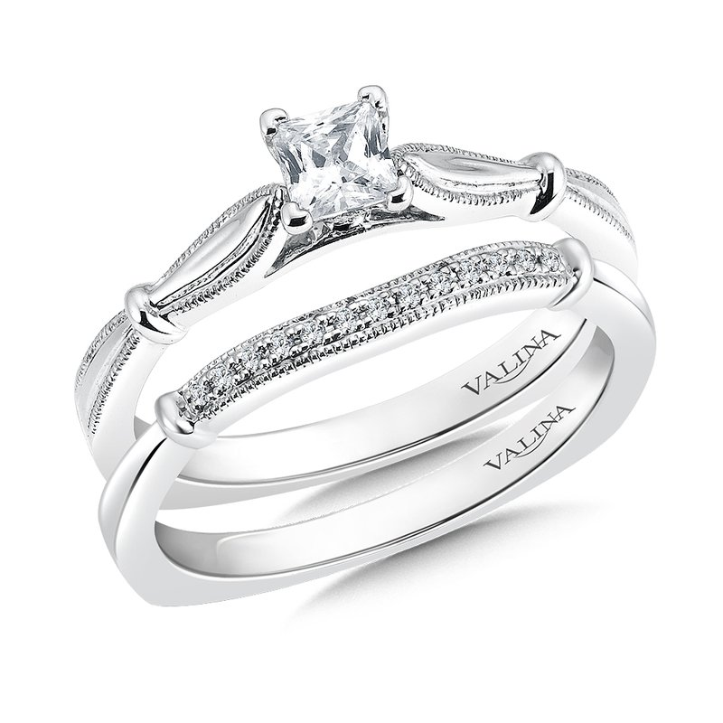 Valina Bridals Solitaire mounting .01 tw., 1/3 ct. Princess cut center.
