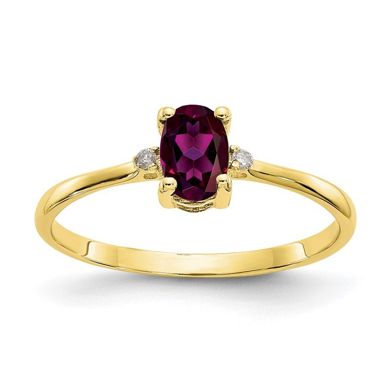Quality Gold 10k Polished Geniune Diamond & Rhodolite Garnet Birthstone Ring