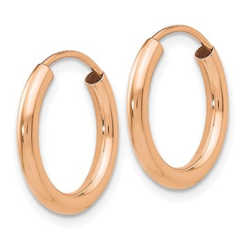 14k Rose Gold Polished Round Endless 2mm Hoop Earrings