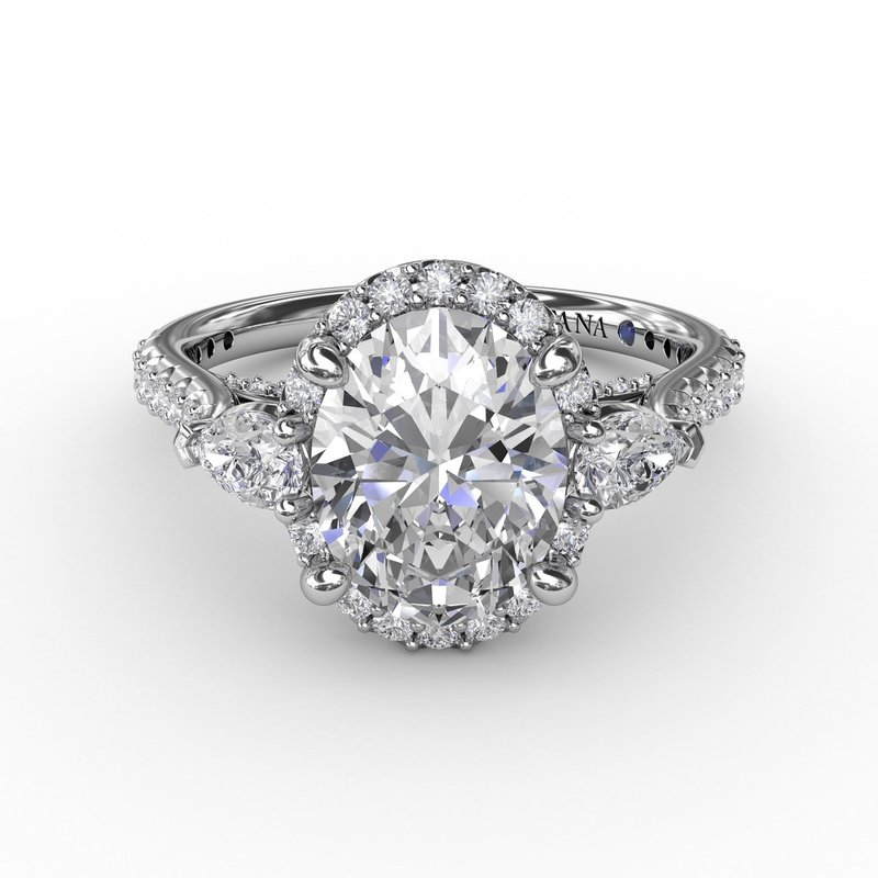 Fana Oval Diamond Halo Engagement Ring With Pear-Shape Diamond Side Stones