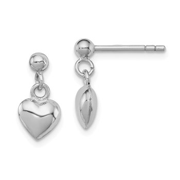 Sterling Silver RH Plated Child's Polished Heart Post Dangle Earrings
