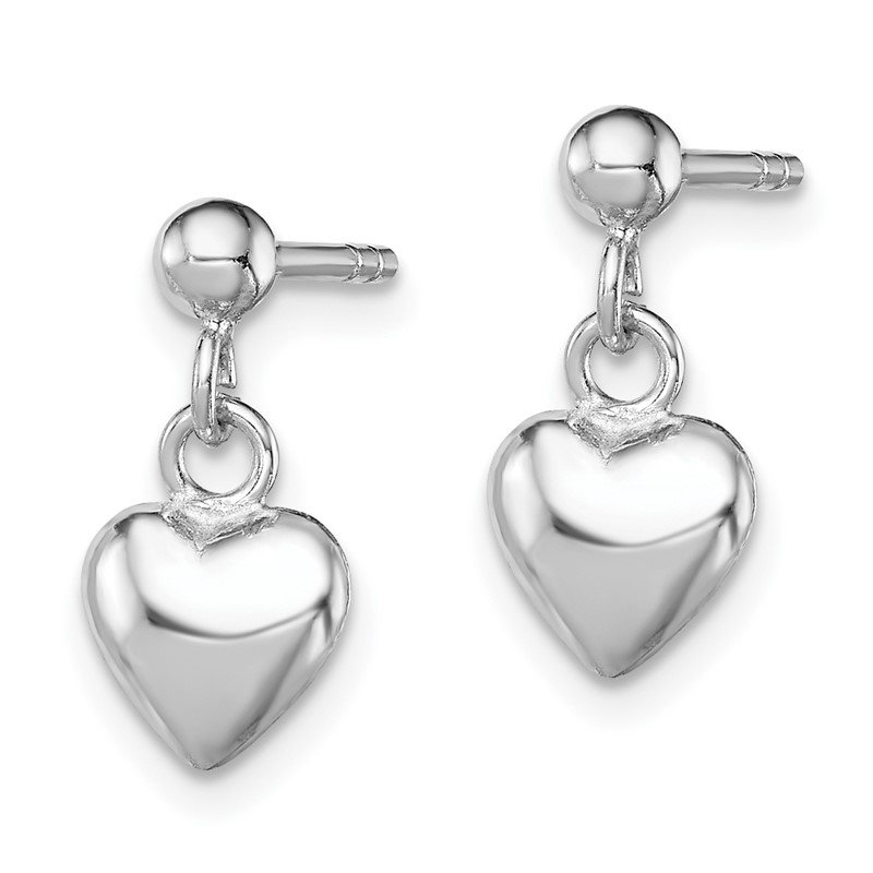 Quality Gold Sterling Silver RH Plated Child's Polished Heart Post Dangle Earrings