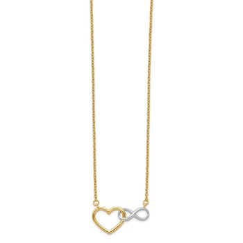 14KY & White Rhodium Heart with Infinity Symbol Necklace