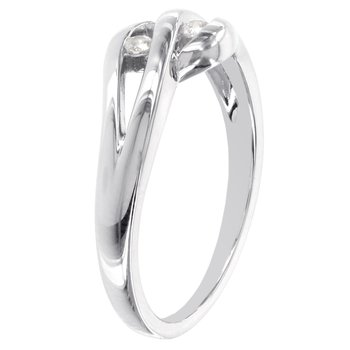 Sterling Silver Diamond Accent Two-stone Cut-out Promise Ring
