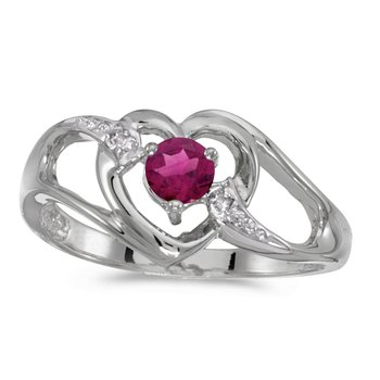 10k White Gold Round Rhodolite Garnet And Diamond Heart Ring