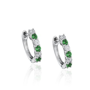 Bold Beauty Alternating Emerald and Diamond Hoops