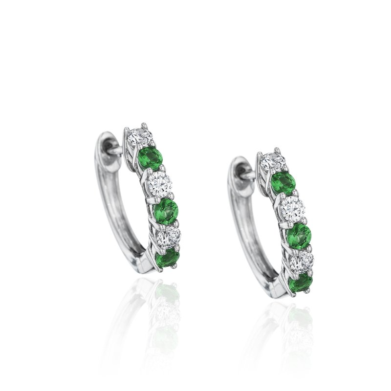 Fana Bold Beauty Alternating Emerald and Diamond Hoops