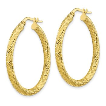 10k 3x25 Diamond-cut Round Hoop Earrings