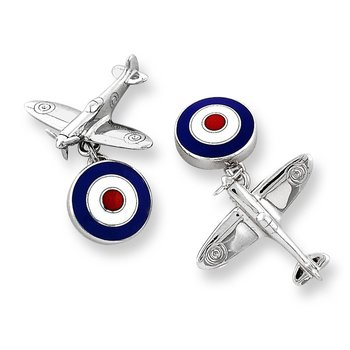 Red Spitfire Plane Chain-link Cufflinks.Sterling Silver. VE Day 2020