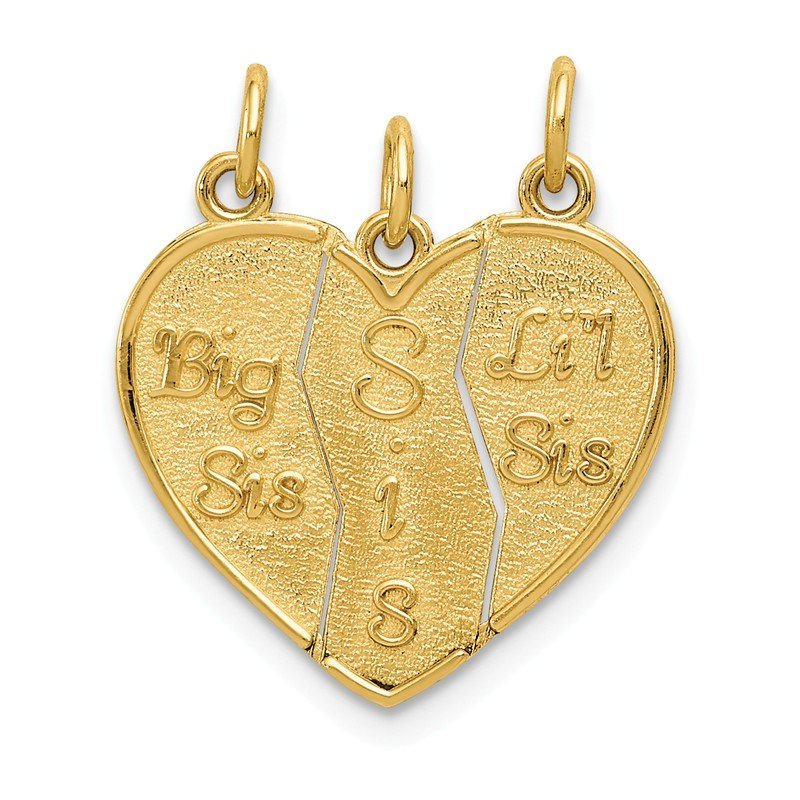 Quality Gold 14k 3 piece Break-apart Big Sis, Sis & Lil Sis Charm