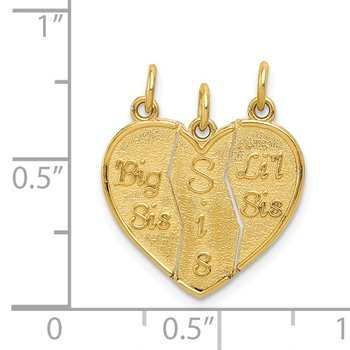 14k 3 piece Break-apart Big Sis, Sis & Lil Sis Charm