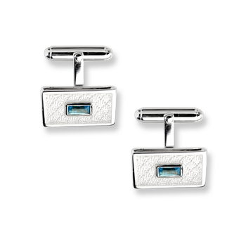 Sterling Silver Classic T-Bar Cufflinks-White. Blue Topaz.