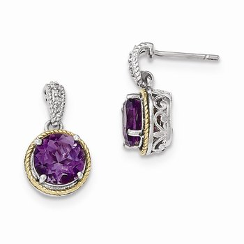 Sterling Silver w/14ky Amethyst Diamond Post Dangle Earrings