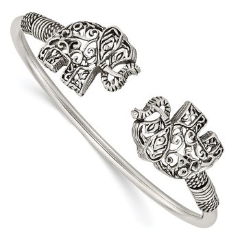 Sterling Silver Polished Antiqued Filigree Elephants Flexible Bangle