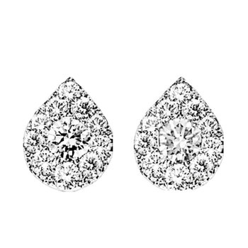14K Diamond Earrings 1 ctw Pear Shape