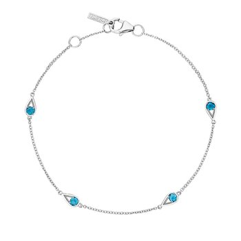 4-Station Open Crescent Bracelet with London Blue Topaz