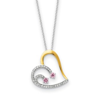 Sterling Silver & Gold-plated CZ Forever By Your Side 18in Necklace