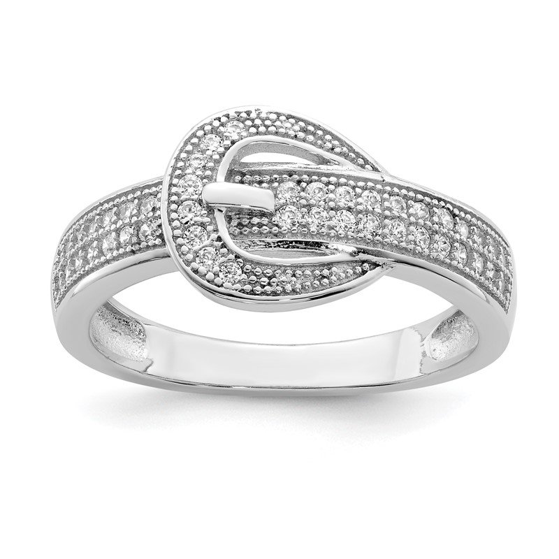 Quality Gold Sterling Silver Rhodium-plated CZ Buckle Ring