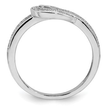 Sterling Silver Rhodium-plated CZ Buckle Ring