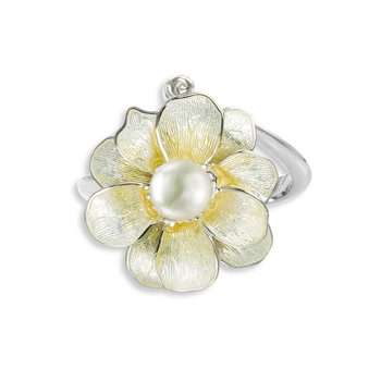 Yellow Camellia Ring.Sterling Silver-Freshwater Pearl