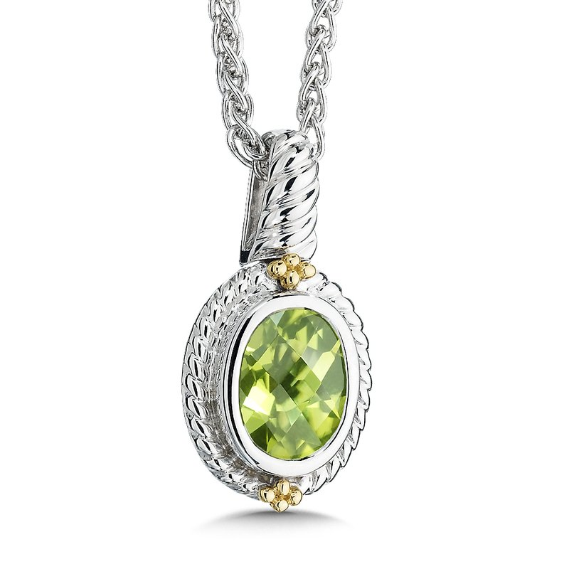 Colore Sg Sterling Silver, 18K Gold and Peridot Pendant