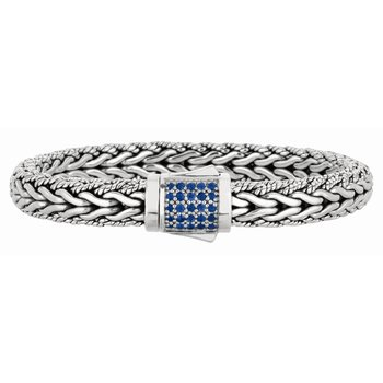 Sterling Silver Signature Woven Large Sapphire Bracelet
