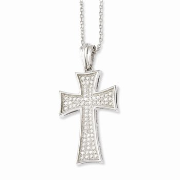 Sterling Silver Brilliant Embers Rhodium-plated CZ Polished Cross Necklace