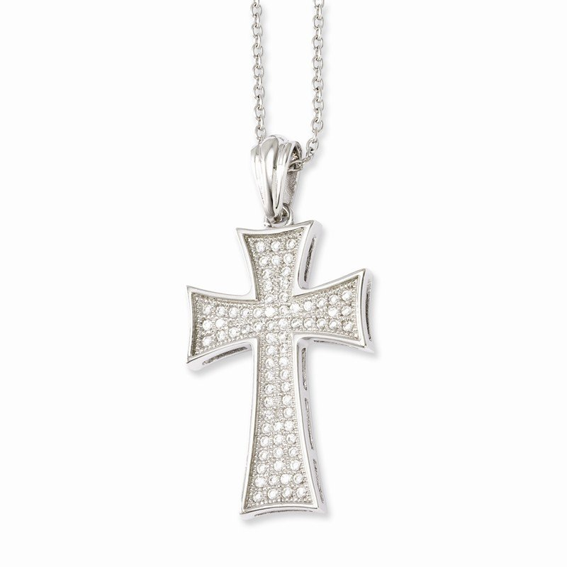 Quality Gold Sterling Silver & CZ Brilliant Embers Polished Cross Necklace