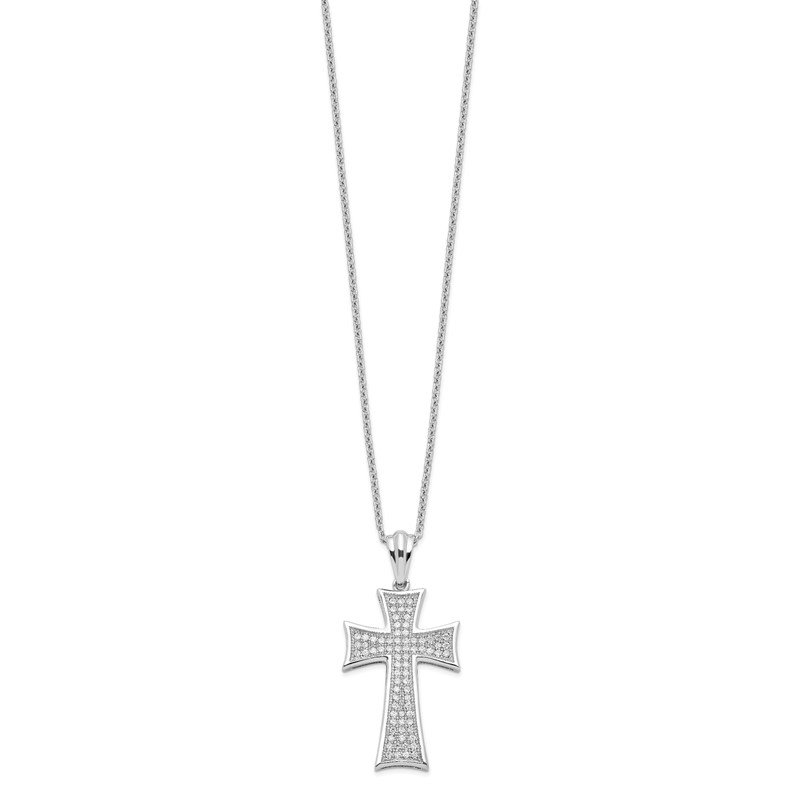 Quality Gold Sterling Silver Brilliant Embers Rhodium-plated CZ Polished Cross Necklace