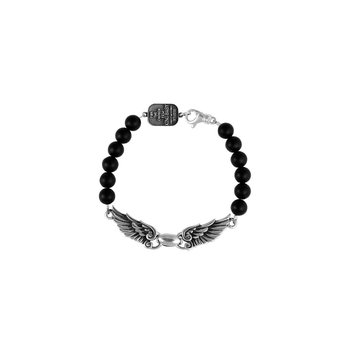 8Mm Onyx Bead Wingspan Bracelet