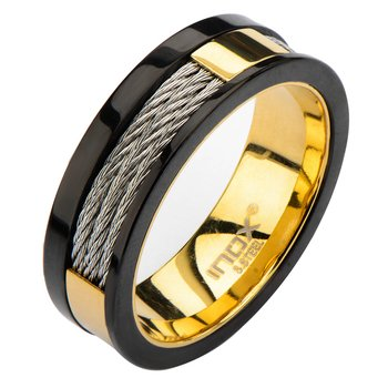 Plated Gold Inner Ring With Black Line & Inlayed Cables