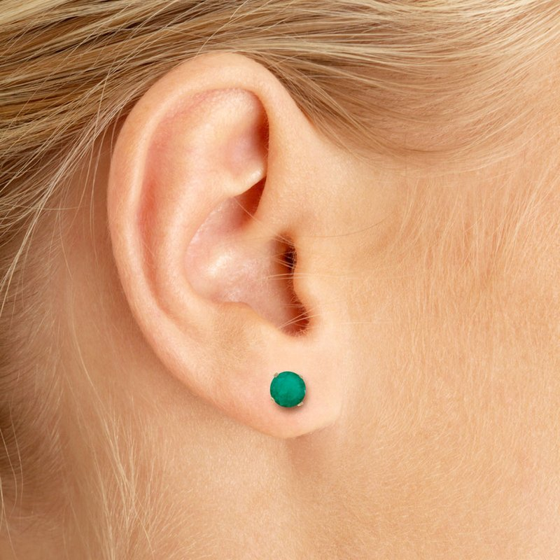 Color Merchants 5 mm Natural Round Emerald Stud Earrings Set in 14k Yellow Gold