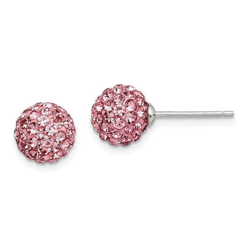 Quality Gold Sterling Silver 8mm Pink Czech Crystal Post Earrings
