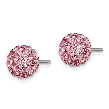 Sterling Silver 8mm Pink Czech Crystal Post Earrings