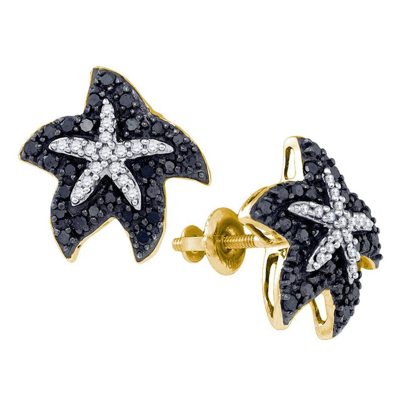 Kingdom Treasures 10kt Yellow Gold Womens Round Black Color Enhanced Diamond Starfish Stud Earrings 3/8 Cttw