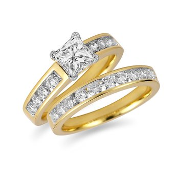 18K YG Diamond Engagement and Wedding Band