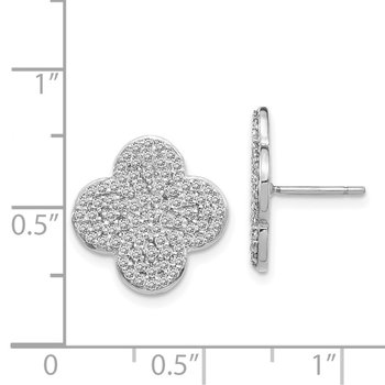 14k White Gold Diamond Quatrefoil Design Post Earrings