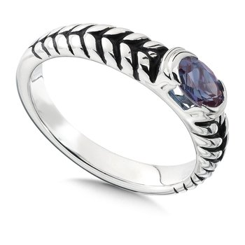 Sterling Silver and Created Alexandrite Ring