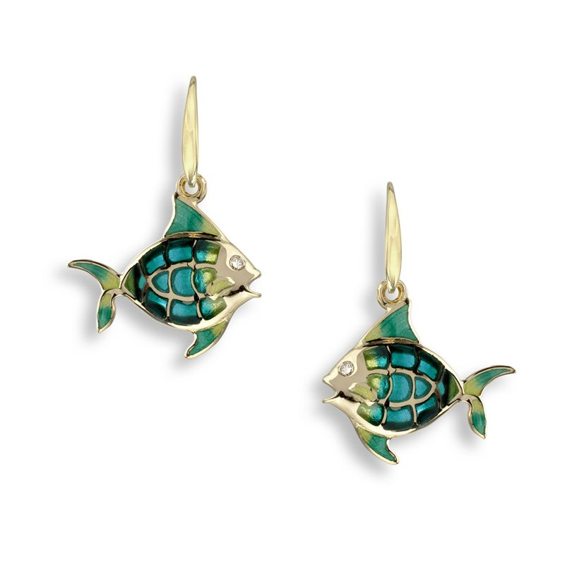 Nicole Barr Designs Turquoise Angel Fish Wire Earrings.18K -Diamonds - Plique-a-Jour