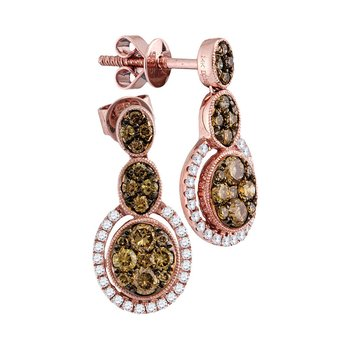 14kt Rose Gold Womens Round Cognac-brown Color Enhanced Diamond Triple Oval Cluster Dangle Earrings 7/8 Cttw