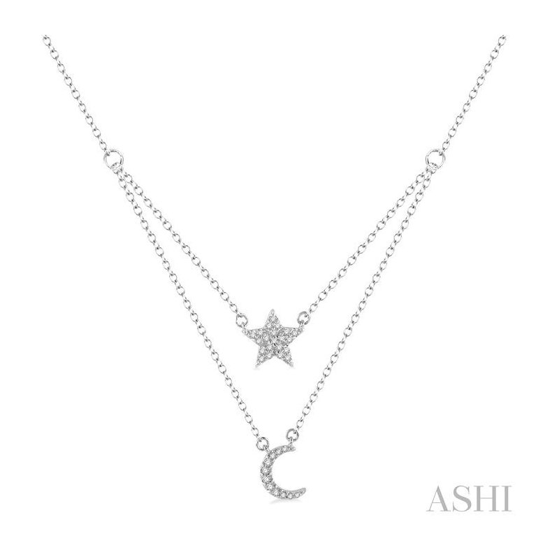 Crocker's Collection star & moon layered diamond pendant