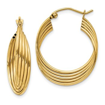 14k Lightweight Fancy Hoop Earrings