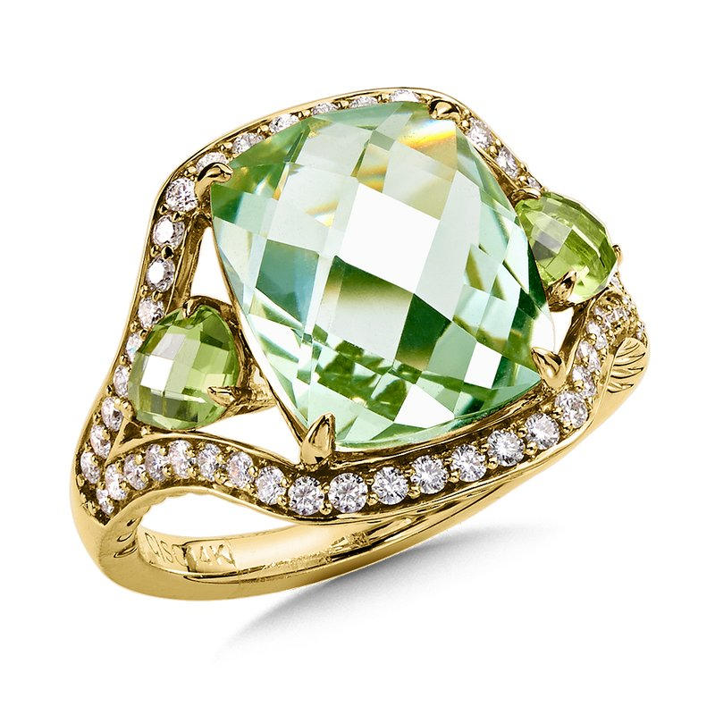 Colore Oro Green Amethyst and Peridot Statement Ring in 14K Yellow Gold