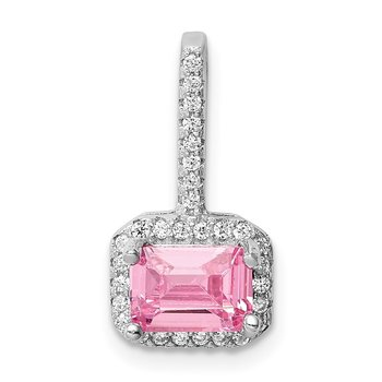 Sterling Silver Rhodium-plated Emerald-shape Pink CZ Halo Pendant