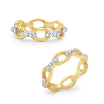 14k Gold and Diamond Link Ring