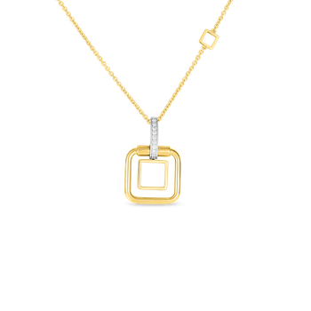 18K Sm Double Square Pendant W. Dia Accent On Chain