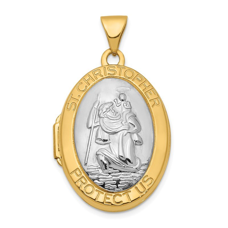 Quality Gold 14K Two-tone 23mm Saint Christopher Locket Pendant