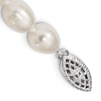 Sterling Silver Rhodium 7-8mm White FW Cultured Rice Pearl Necklace